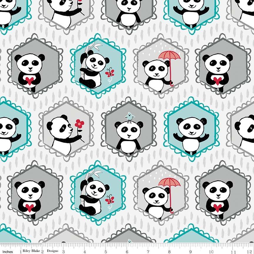 Pandas Fat Quarter - Light Gray Panda Love Collection by Riley Blake Designs