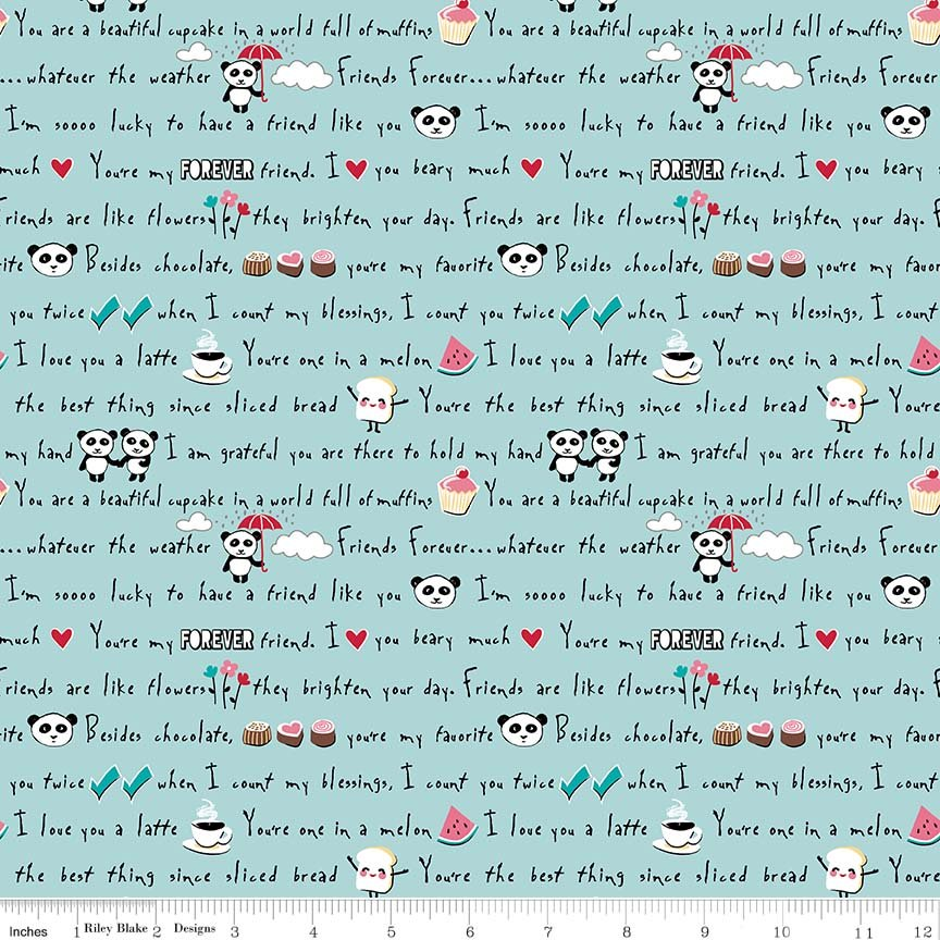 Words Fat Quarter - Aqua Panda Love Collection by Riley Blake Designs
