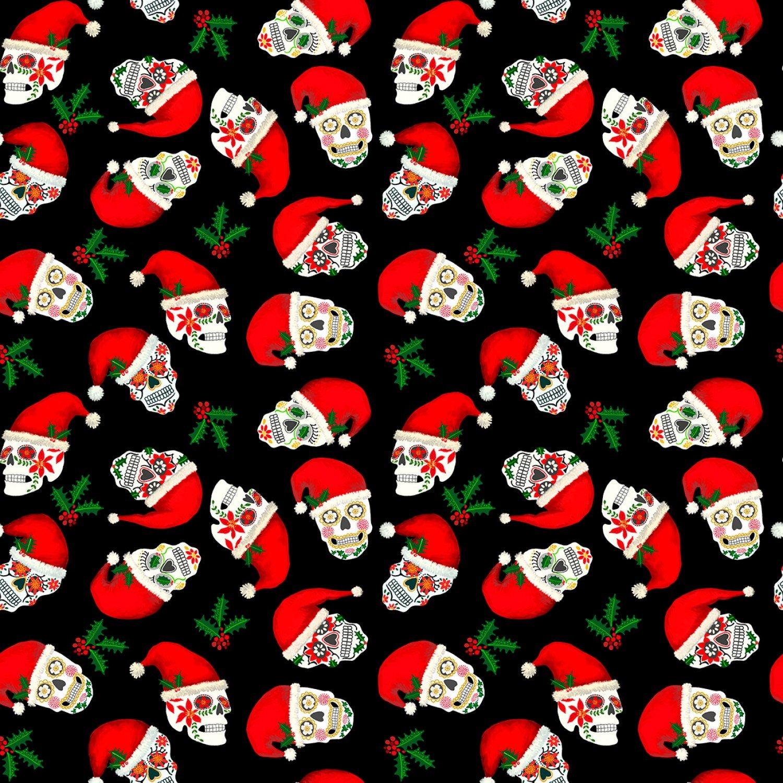Christmas Sugar Skulls Fabric - Black from Timeless Treasures