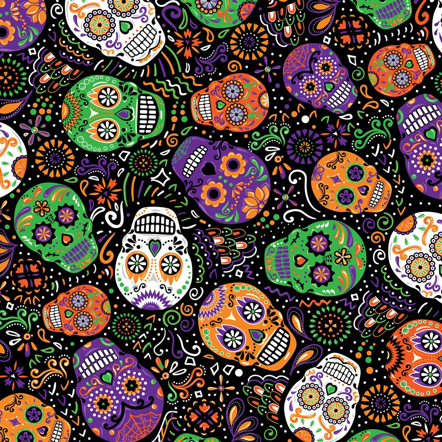 Day Of The Dead Mardi Gras Skulls Fabric - Black from Timeless Treasures
