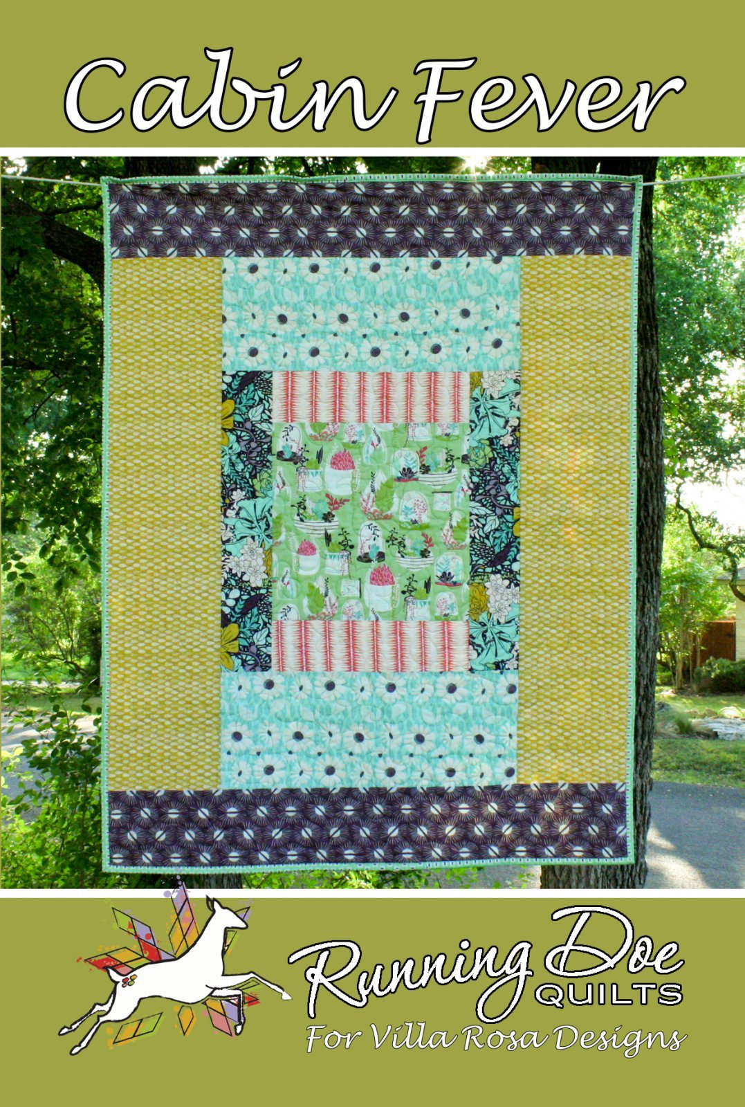 Cabin Fever Card Quilt Pattern by Running Doe Quilts for Villa Rosa Designs