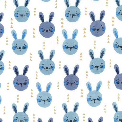 Ruminating Rabbits Fabric - Denim Glitter Critters Collection by Michael Miller Fabrics