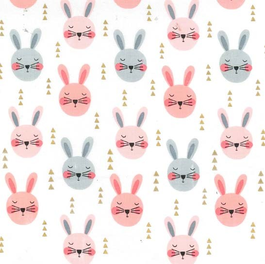 Ruminating Rabbits Fat Quarter - Peach Glitter Critters Collection by Michael Miller Fabrics