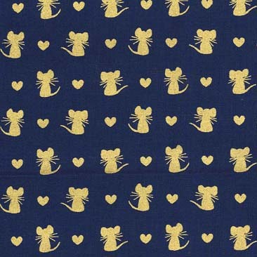 Nice Mice Fat Quarter - Navy Glitter Critters Collection by Michael Miller Fabrics