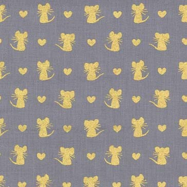 Nice Mice Fat Quarter - Pewter Glitter Critters Collection by Michael Miller Fabrics