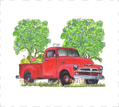 Watermelon Truck Quilt Block Art by Kathleen McElwaine