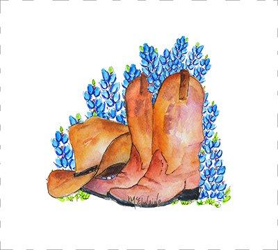 Boots, Hat & Bluebonnets Quilt Block Art by Kathleen McElwaine