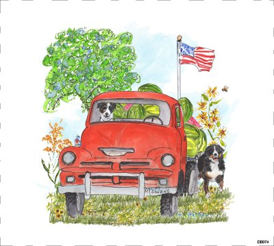 All American Truck Quilt Block Art by Kathleen McElwaine