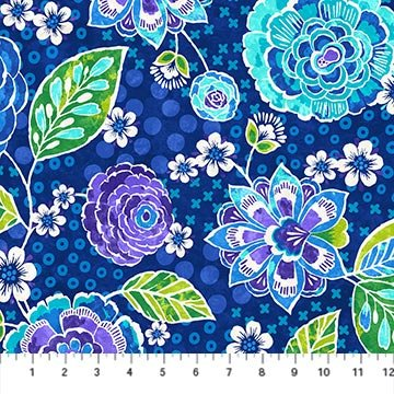 Floral Fat Quarter - Indigo X's and O's Collection by Northcott