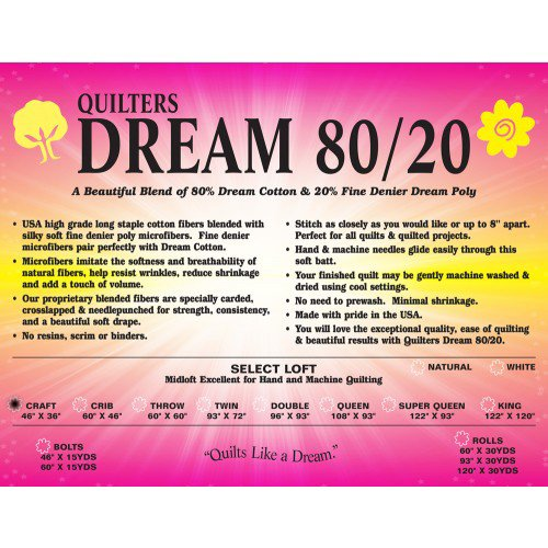 Select 80/20 White Batting - Craft by Quilters Dream Batting
