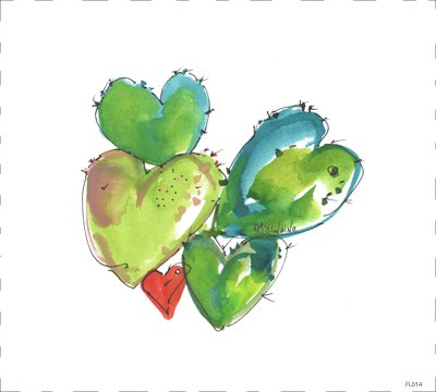 Hearts Cacti Quilt Block Art by Kathleen McElwaine