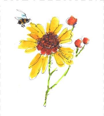 Wildflower Quilt Block Art by Kathleen McElwaine