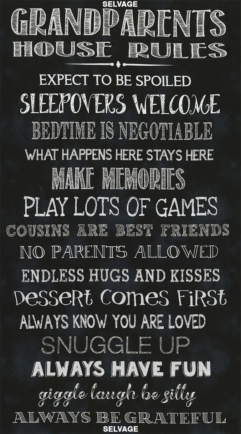 Grandparents Rules Fabric Panel by Timeless Treasures