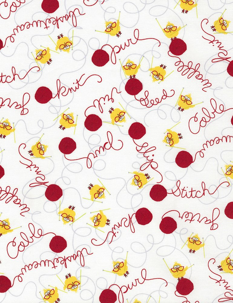 7e13a7d04646 Chicks   Yarn Words Fabric - White by Timeless Treasures