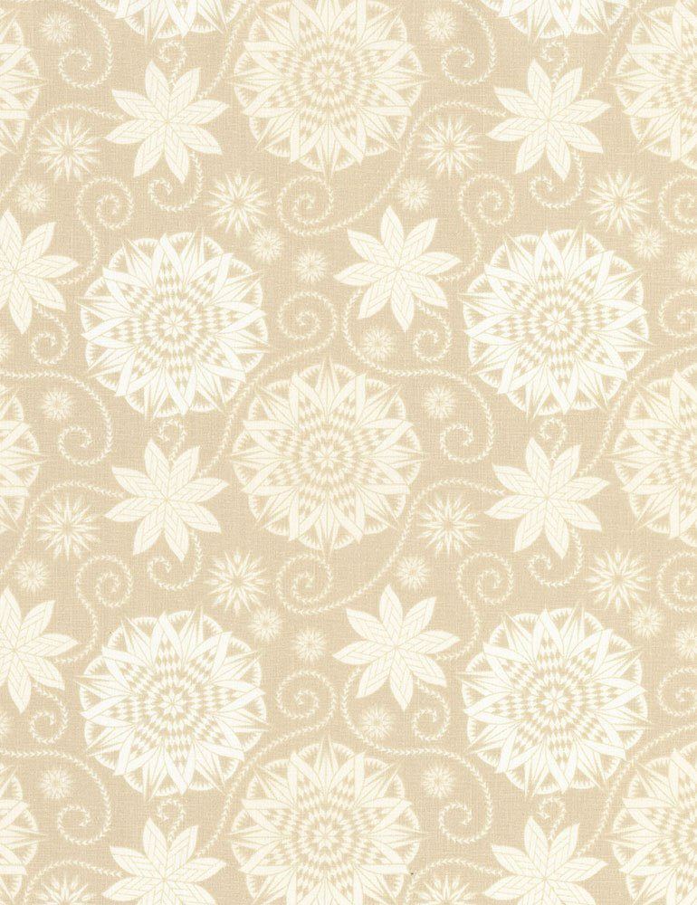 Quilterly Medallions Medium Fat Quarter - Coffee Bohemian Blues Collection by Judy & Judel Niemeyer for Timeless Treasures