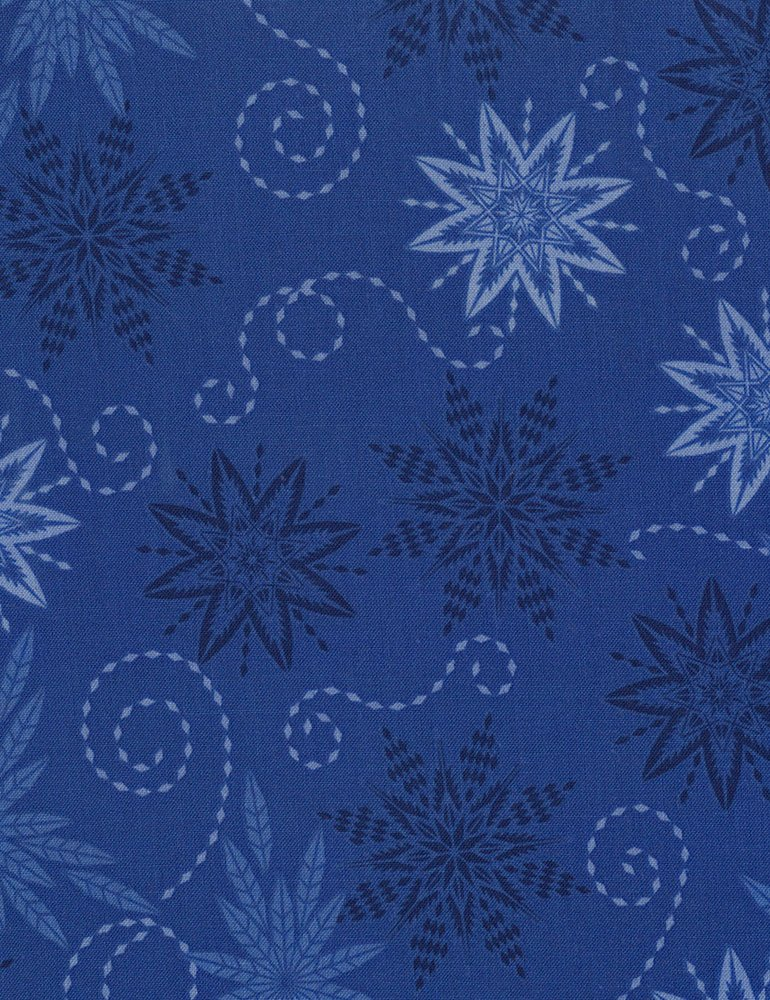 Snowflakes Fabric - Royal Bohemian Blues Collection by Judy & Judel Niemeyer for Timeless Treasures