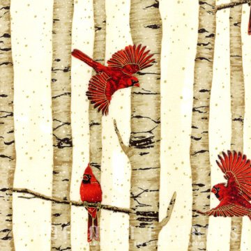 Cardinals Fat Quarter - Natural/Gold Woodsy Winter Collection by Hoffman Fabrics