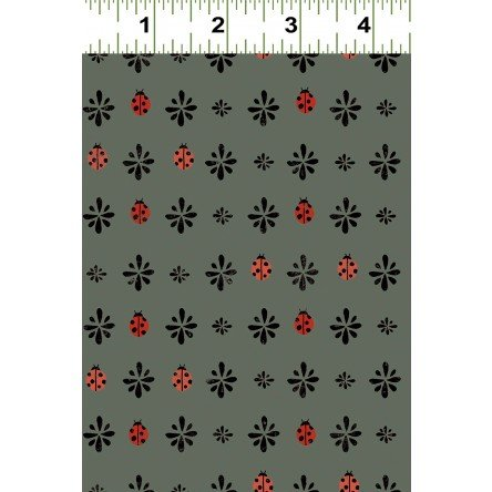 Lady Bug Home Fat Quarter - Gray from Lady Bug Blooms Collection  by Clothworks