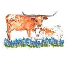 Mama & Calf Quilt Block Art by Kathleen McElwaine