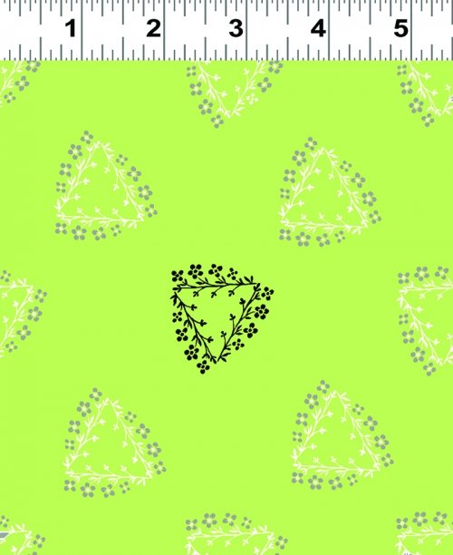 Triangle Wreaths Fat Quarter - Lime from Mojito Collection  by Clothworks
