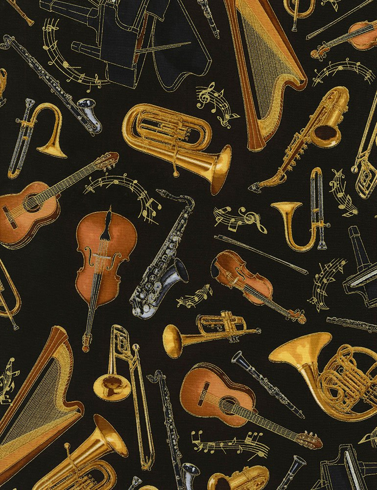 Instruments Fabric - Black by Timeless Treasures