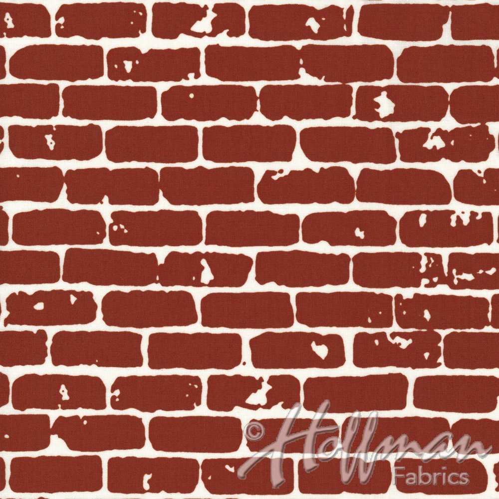Brick Wall Fabric - Brick from Grafic Collection by Hoffman Fabrics