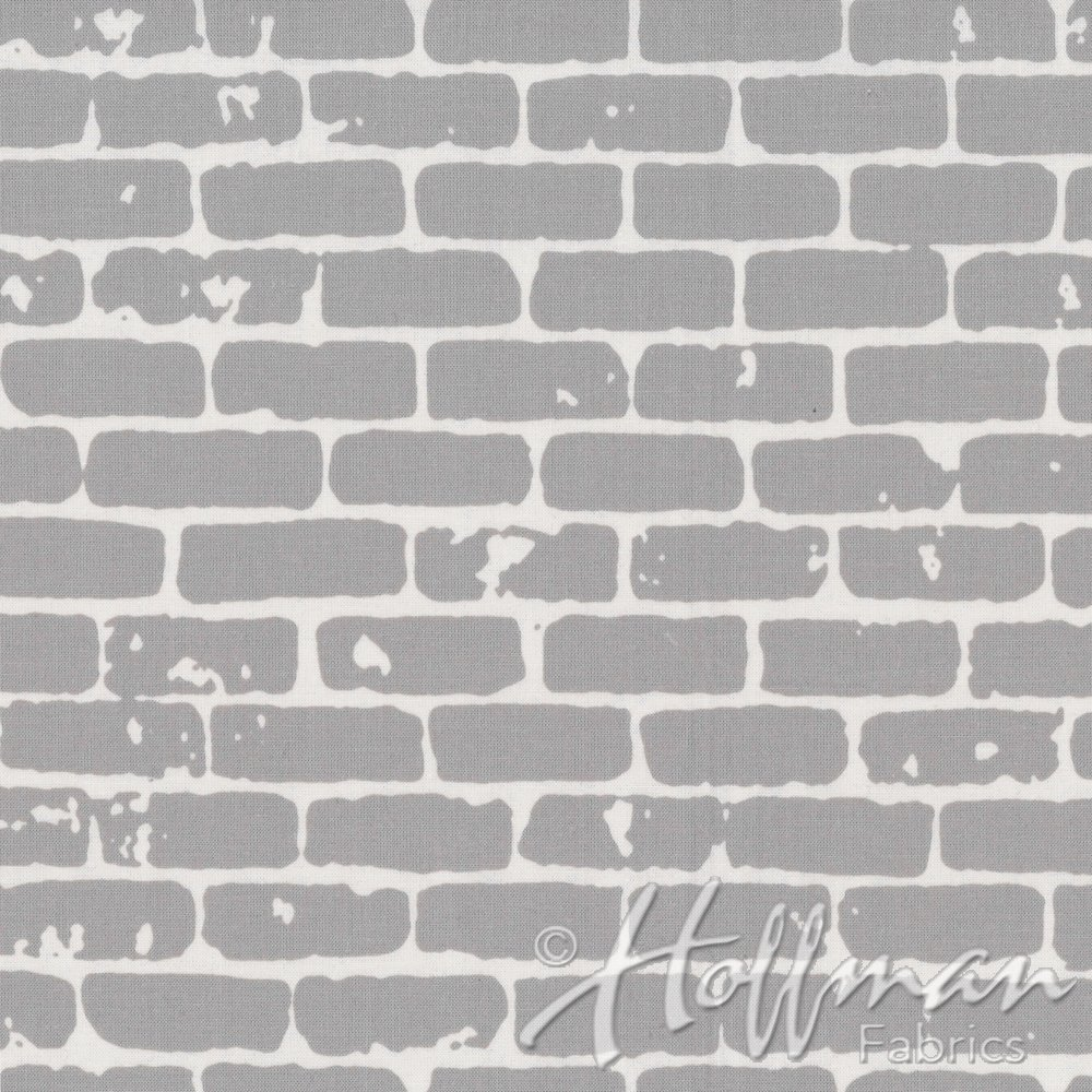 Brick Wall Fat Quarter - Gray from Grafic Collection by Hoffman Fabrics