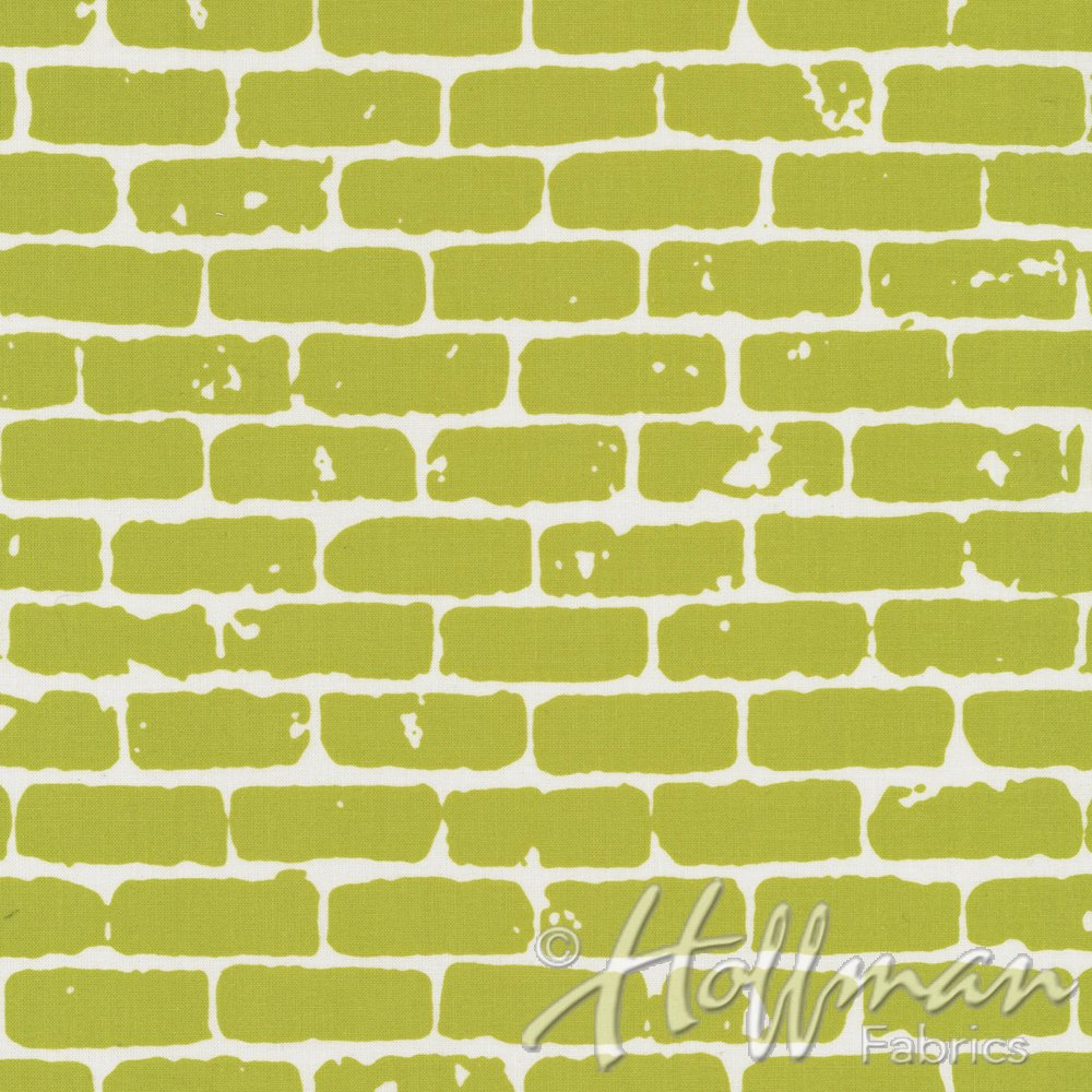Brick Wall Fabric - Mustard from Grafic Collection by Hoffman Fabrics