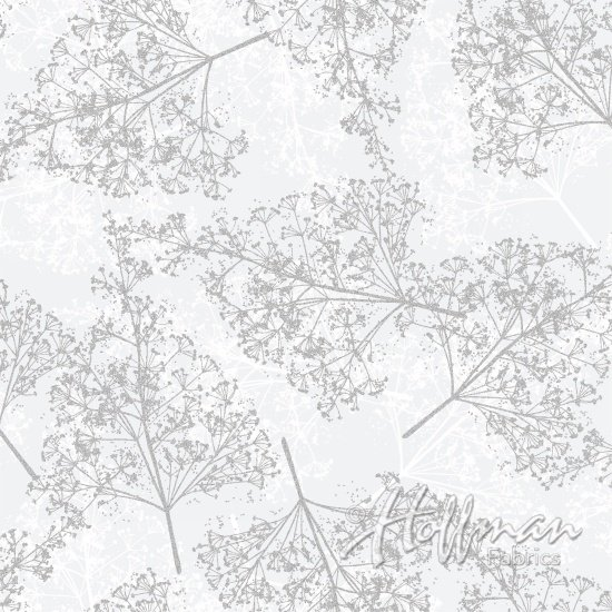 Ferns Fat Quarter - White/Silver Sparkle and Fade Collection by Hoffman Fabrics