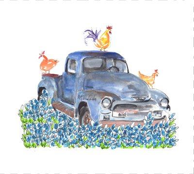 Truck in Bluebonnets Quilt Block Art by Kathleen McElwaine