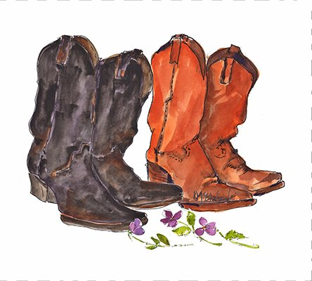 Cowboy Boots Quilt Block Art By Kathleen Mcelwaine