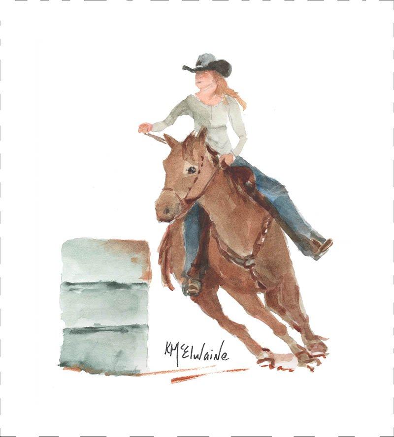 Barrel Racing Quilt Block Art by Kathleen McElwaine