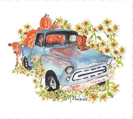 Pumpkin Truck Quilt Block Art by Kathleen McElwaine