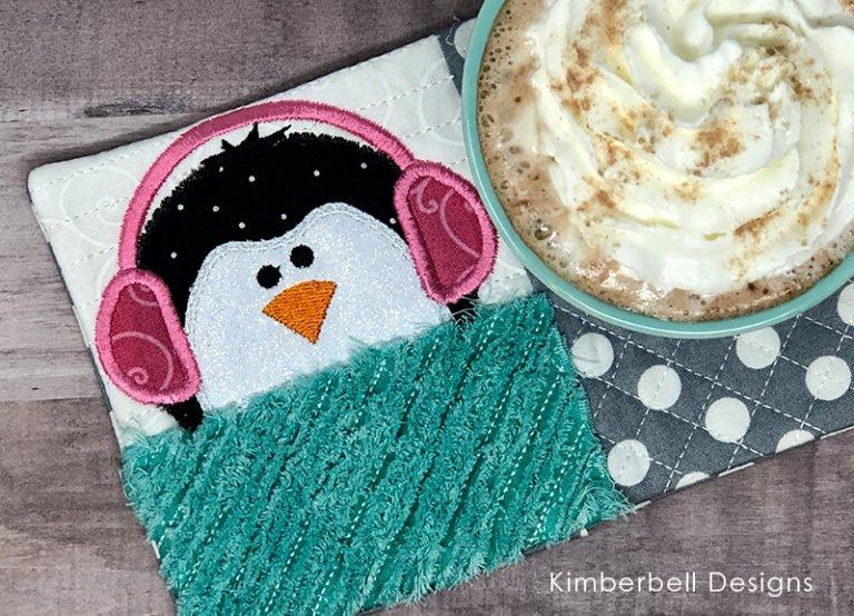 Penguin Mug Rug Embroidery Kit with Kimberbell Designs