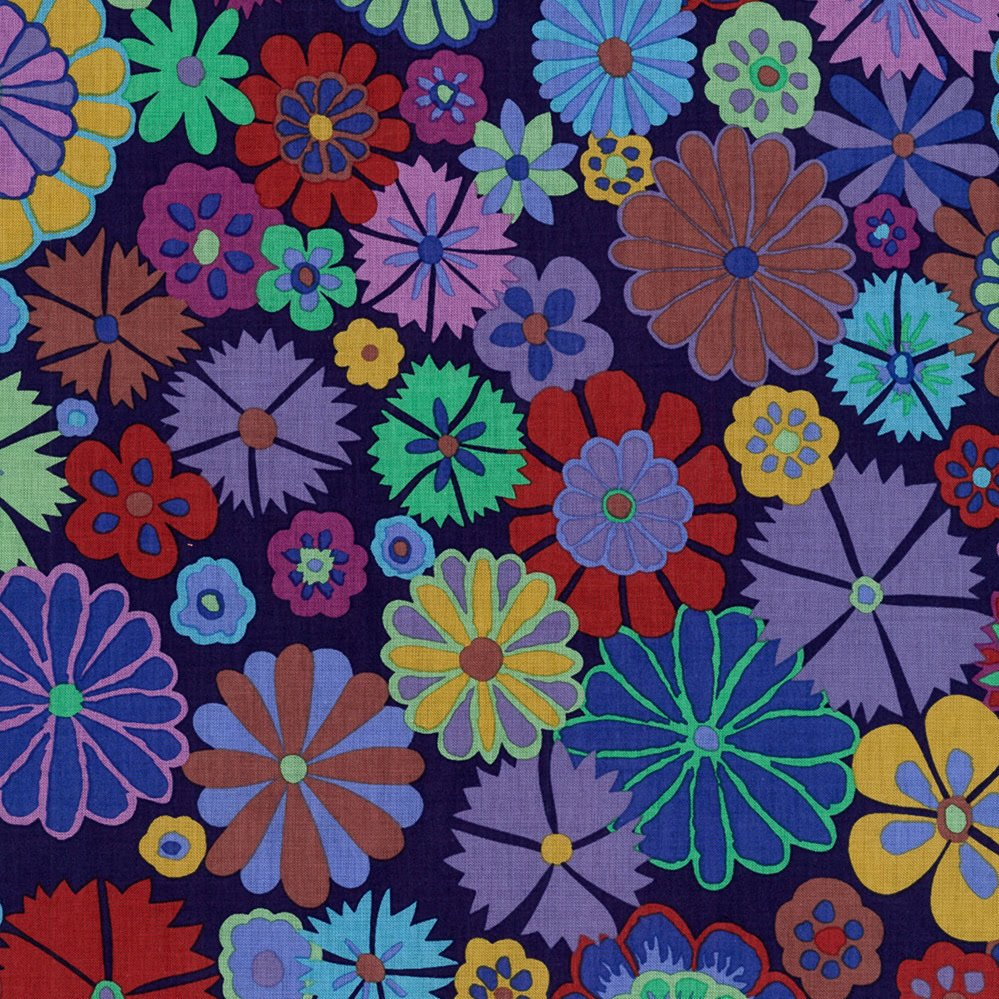 Artisan Folk Flower Fat Quarter - Purple by Kaffe Fassett for FreeSpirit Fabrics