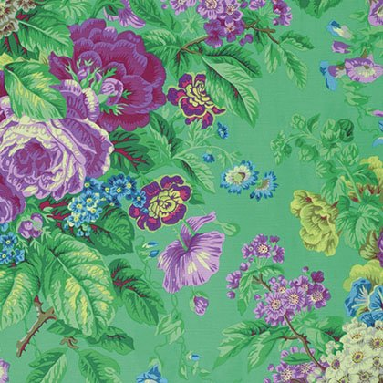 Floral Delight Fat Quarter - Green by Kaffe Fassett for FreeSpirit Fabrics