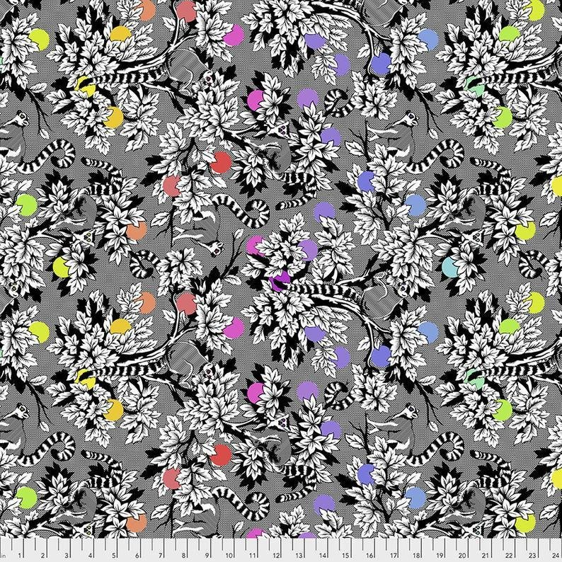Lemur Me Alone Fabric - Ink Linework Collection by Tula Pink from Free Spirit Fabrics