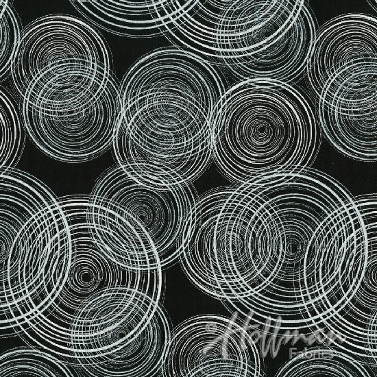 Circles Fabric - Black/Silver Sparkle and Fade Collection by Hoffman Fabrics