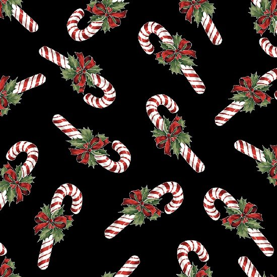 Candy Canes Fat Quarter - Onyx/Silver Cardinals Carol Collection by Hoffman Fabrics