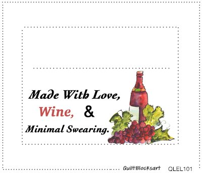 Quilt Labels - Wine Quilt Block Art by Kathleen McElwaine - Set of four