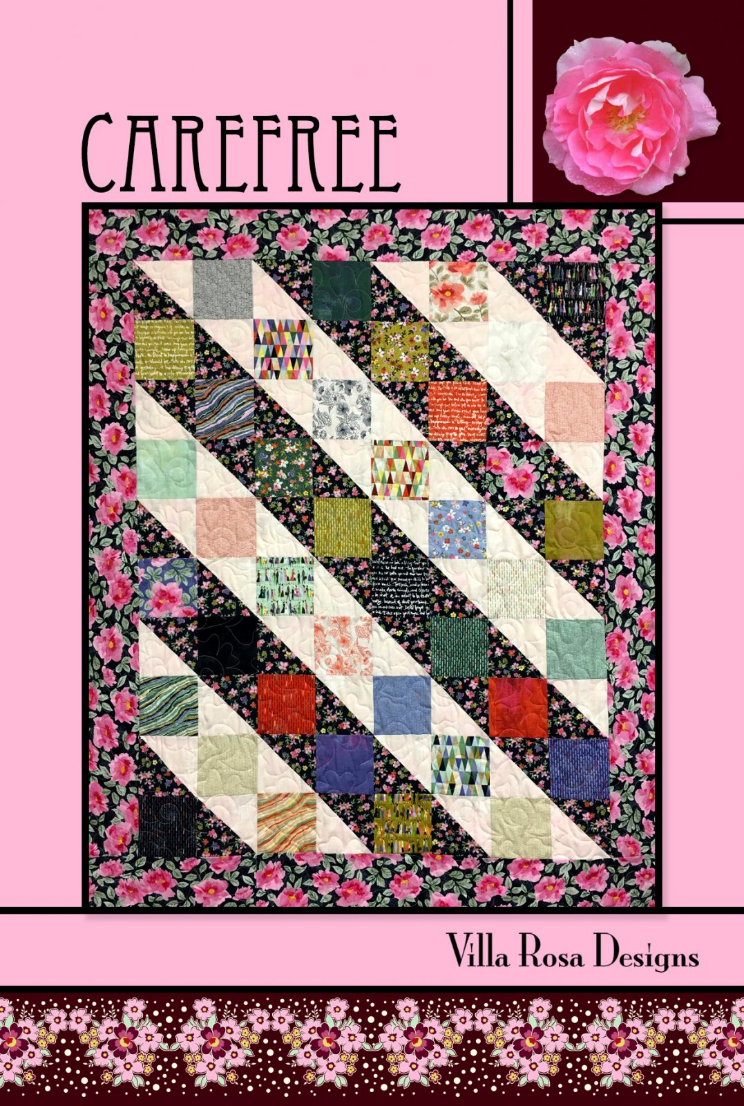 Carefree RoseCard Quilt Pattern by Villa Rosa Designs