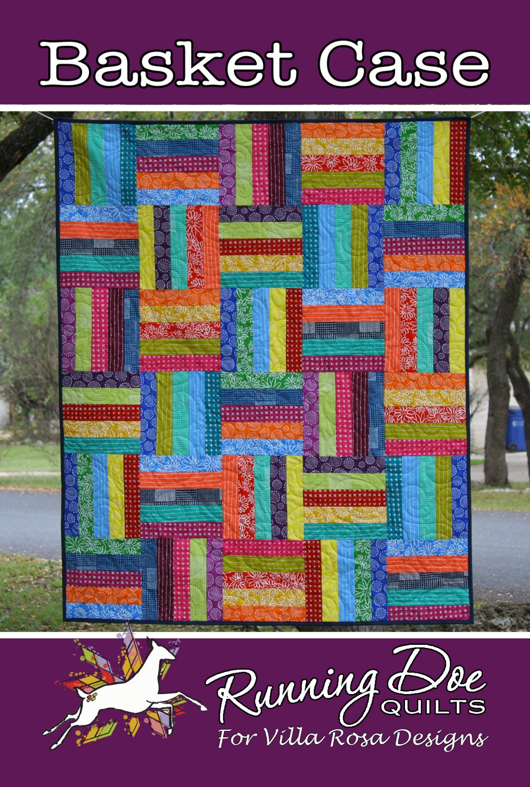 Basket Case Card Quilt Pattern by Running Doe Quilts for Villa Rosa Designs