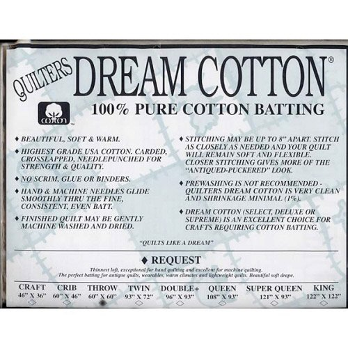 Request Cotton Natural Batting - Throw by Quilters Dream Batting