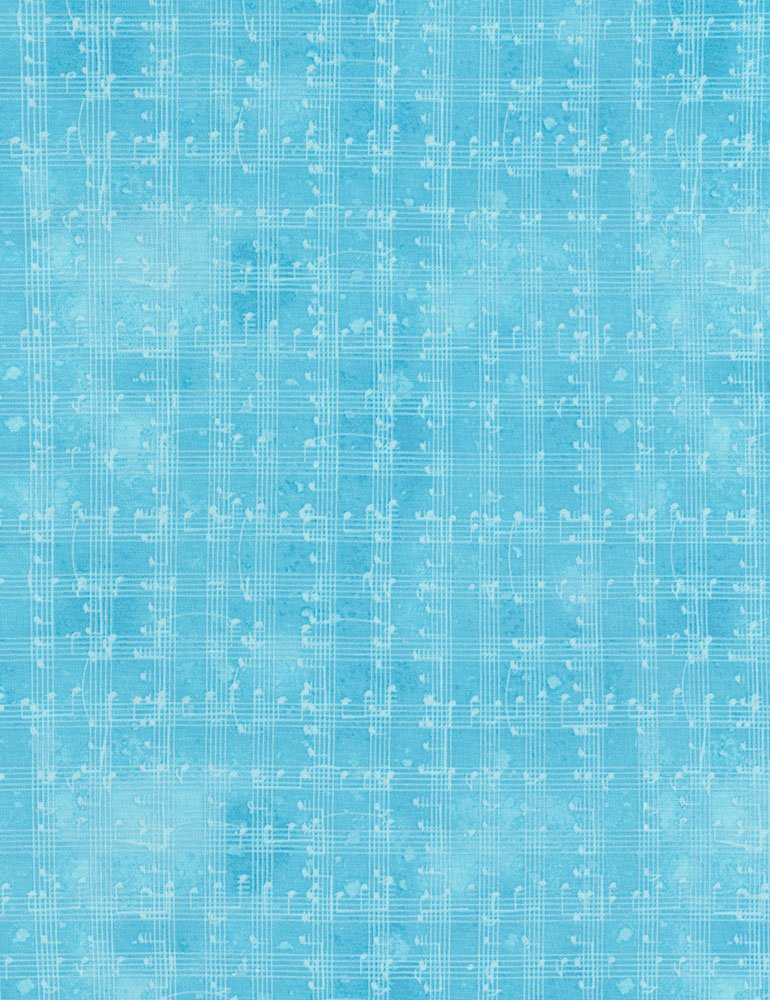 Music Notes Grid Fat Quarter - Blue Row by Row Collection by Timeless Treasures