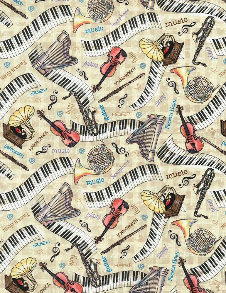 Musical Instruments Fat Quarter - Tan Row by Row Collection by Timeless Treasures