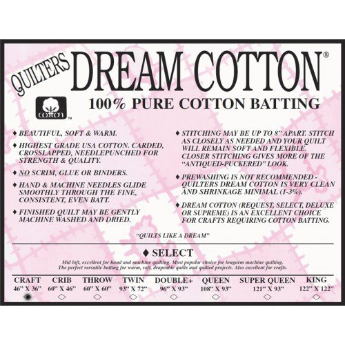 Select Cotton Natural Batting - Craft by Quilters Dream Batting