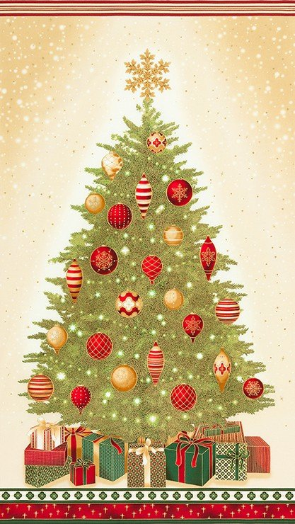 Holiday Tree Fabric Panel Winter's Grandeur Collection by Robert Kaufman Fabrics