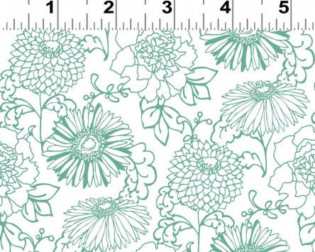 Drawn Blooms Fat Quarter - White from Stonewall Bloom Collection  by Clothworks