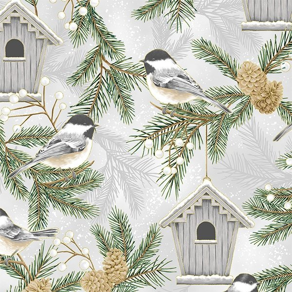 Chickadees Fat Quarter - Fog/Gold Joyful Traditions Collection from Hoffman Fabrics