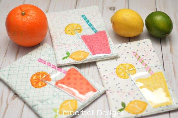 Lemonade Mug Rug Embroidery Kit with Kimberbell Designs